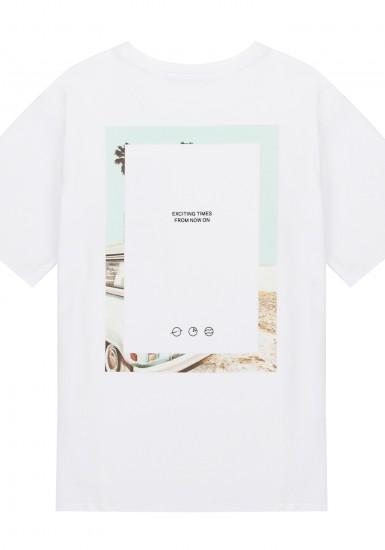 넥테잎 프린트 릴렉스핏 반팔 티셔츠_HTG504